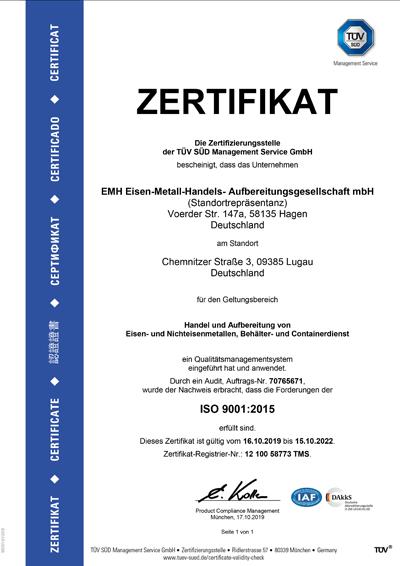 Zertifikat   EMH Eisen-Metall-Handels-Aufbereitungsgesellschaft mbH